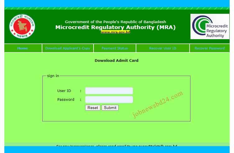 MRA Admit Card